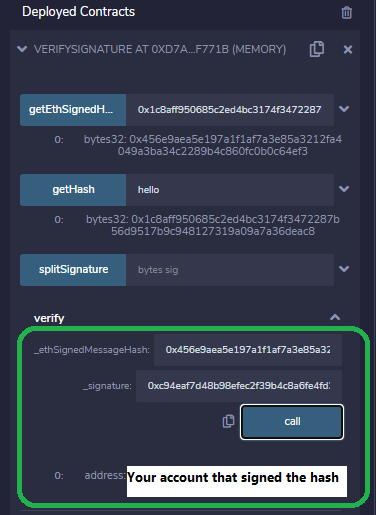 How to sign and verify an Ethereum message off chain browser remix