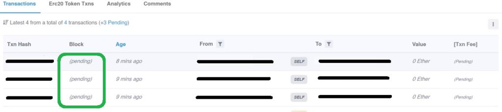 Fix a pending Ethereum transaction