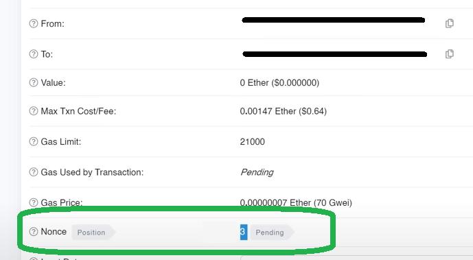 Fix a pending Ethereum transaction nonce position