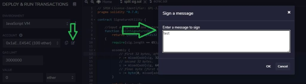 sign a transaction in Remix. Use a signature to generate a public key