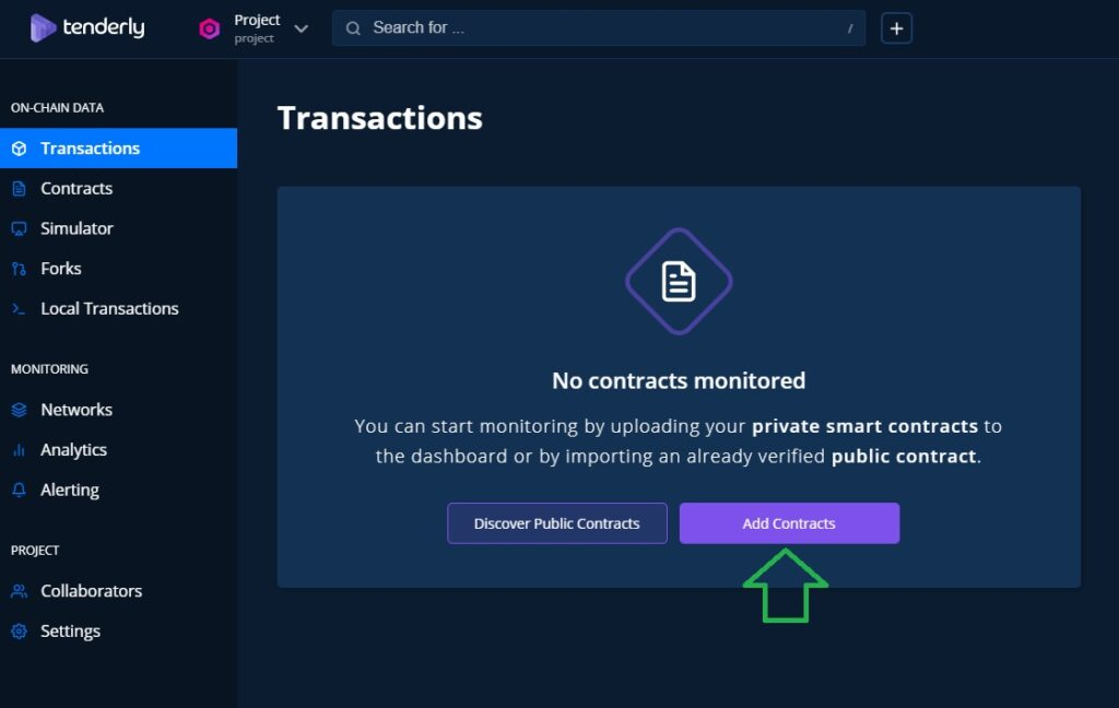 tenderly Toolkit features log into your account and add a smart contract to monitor