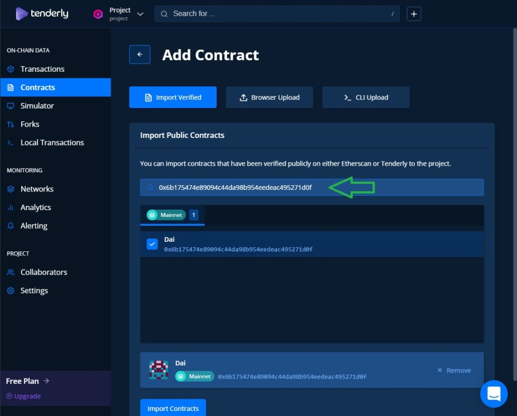 tenderly Toolkit features add the smart contract address, select the contract then import it.