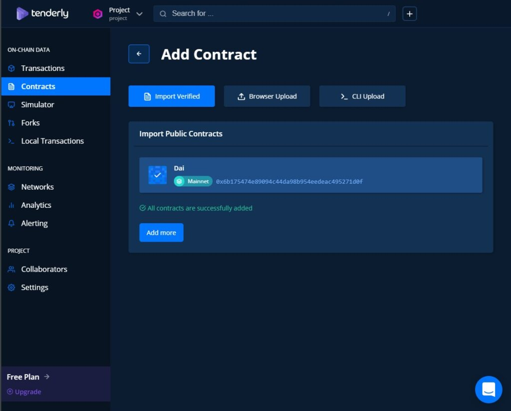 Tenderly Toolkit features is monitoring the smart contract
