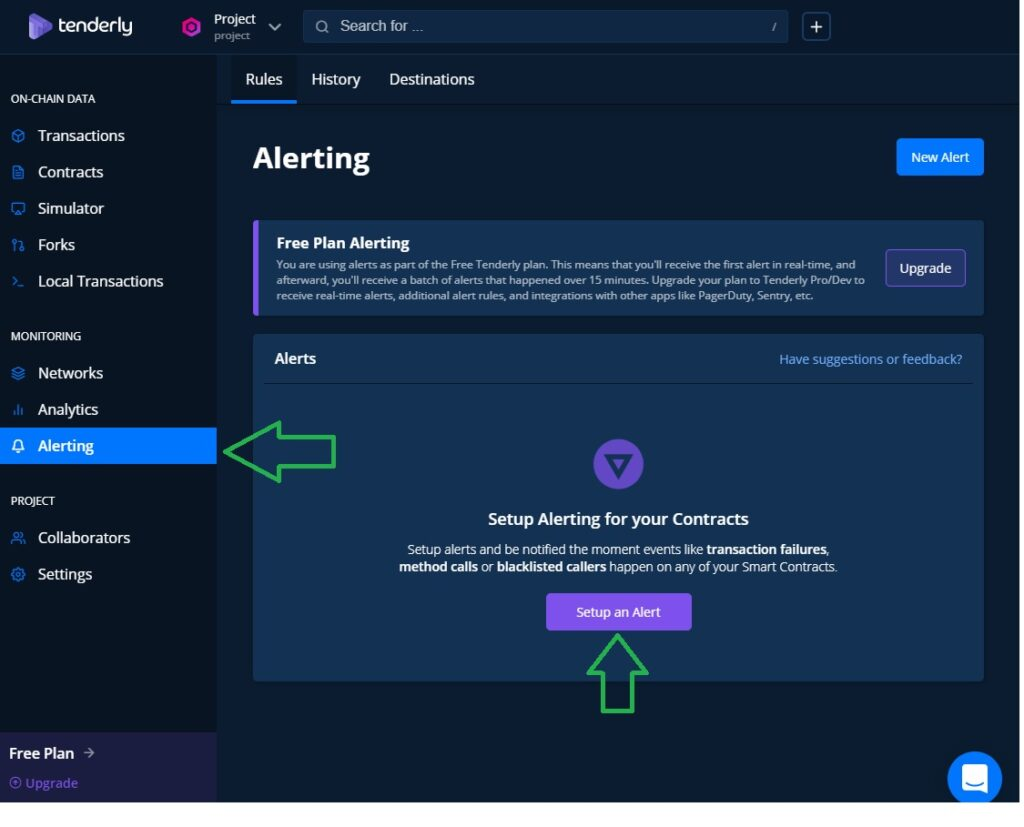 tenderly Toolkit features smart contract alert setup