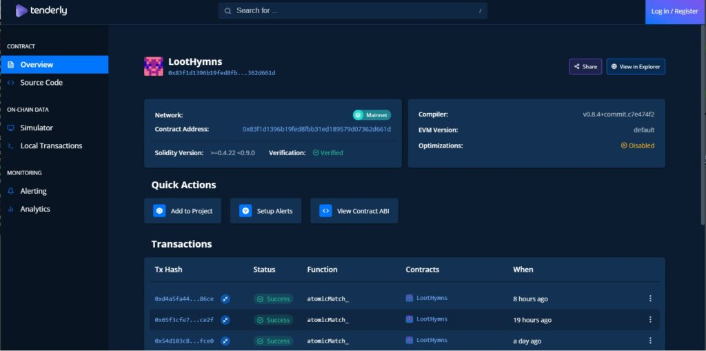 tenderly Toolkit features smart contract search